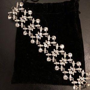 Givenchy Silver Swarovski Crystal Wide Bracelet